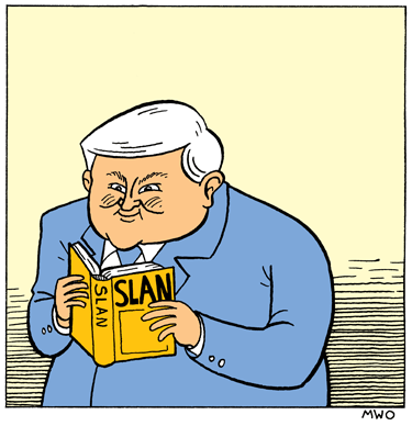 A cartoon of Newt Gingrich reading Slan.