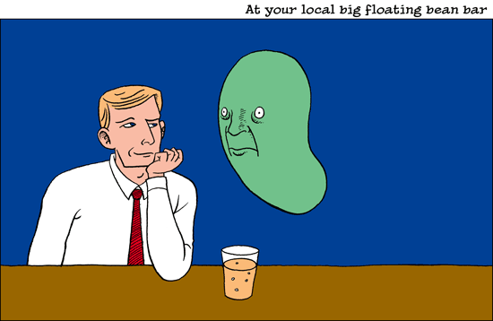 The scene at your local big floating bean bar.